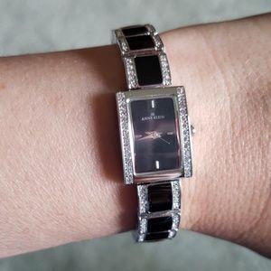 EUC Anne Klein black watch w/ crystals